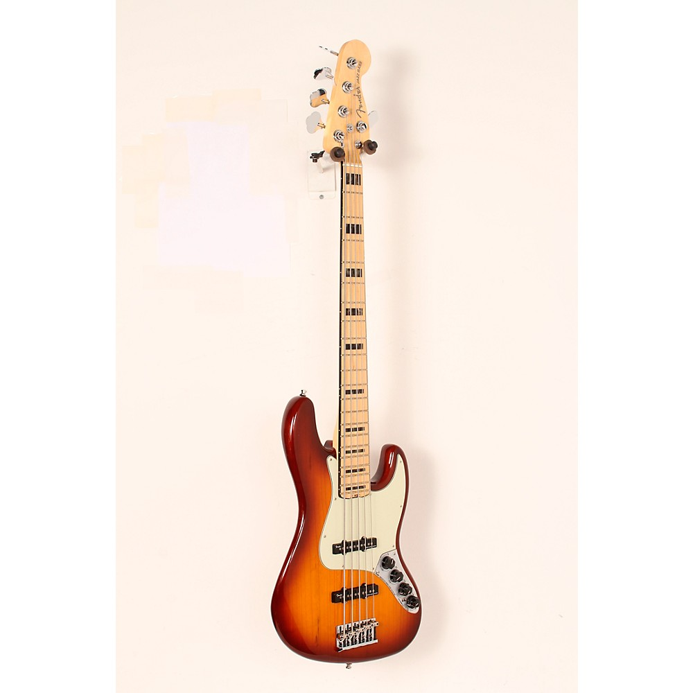 Used Fender American Elite Jazz Bass V, Maple Electric Bass Guitar Tobacco Sunburst 888366010808 -  USED005010 0197102752