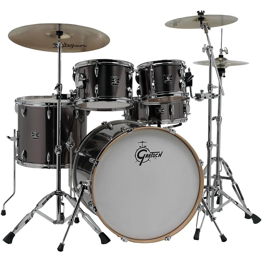 gretsch drums energy vb 5 piece drum set with zildjian cymbals gray. Black Bedroom Furniture Sets. Home Design Ideas