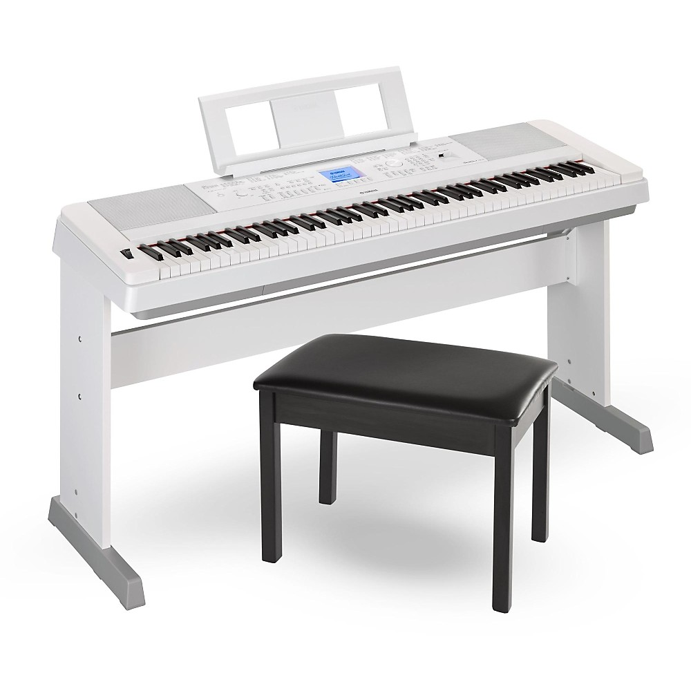 Yamaha dgx660 88 key portable grand piano white with bench for White yamaha piano