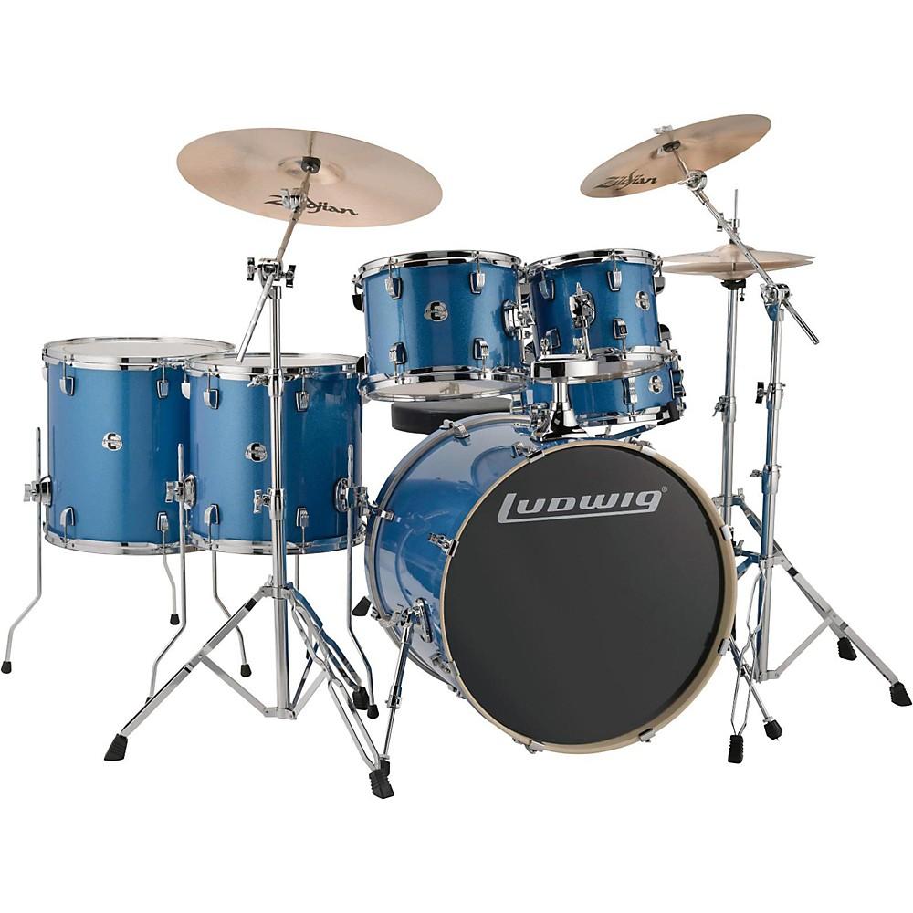 ludwig element evolution 6 piece drum set blue sparkle ebay. Black Bedroom Furniture Sets. Home Design Ideas
