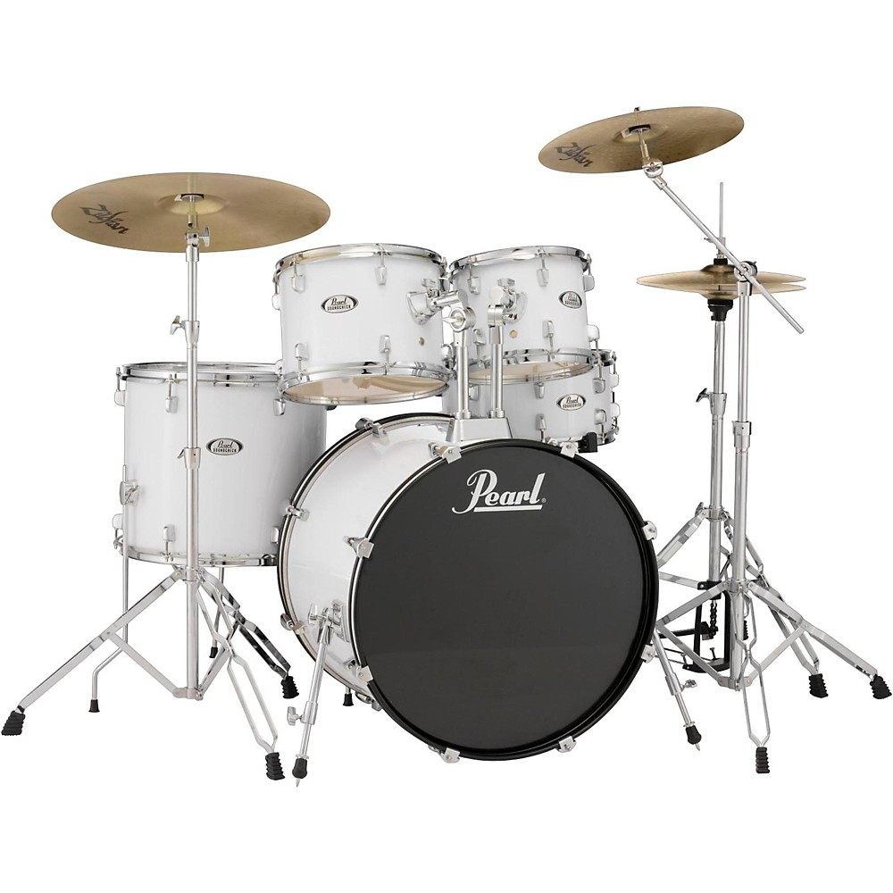 pearl soundcheck complete 5 pc drum set with hardware and cymbals pure white ebay
