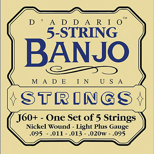 D'Addario J60+ Nickel Light-Plus Banjo Strings
