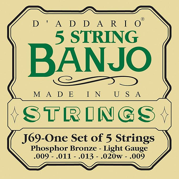 D'AddarioJ69 5-String Banjo PB Light Loop Strings