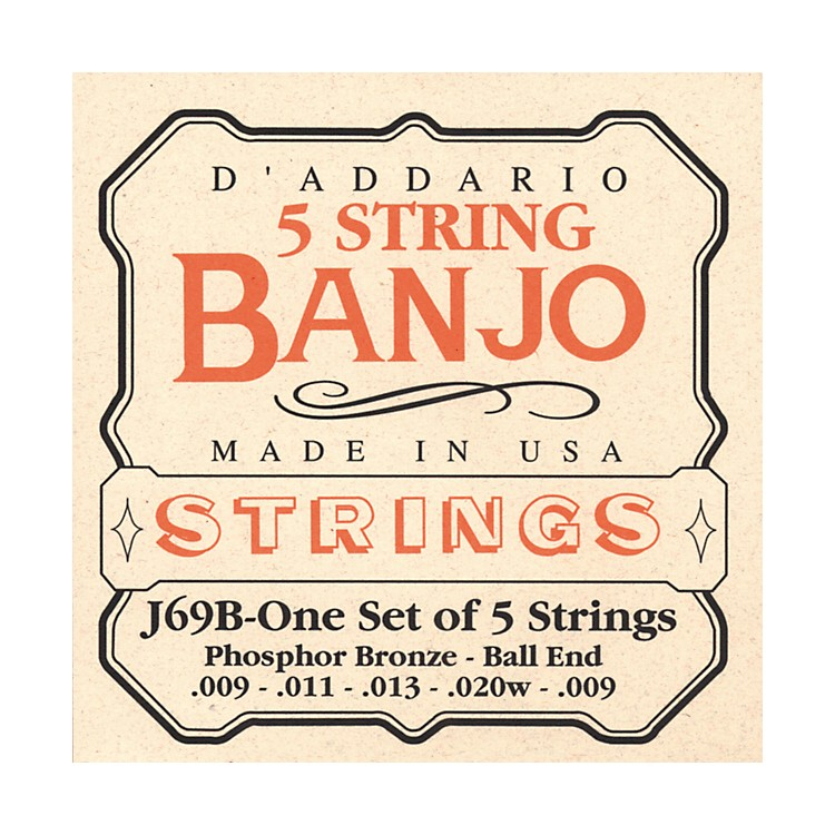 D'Addario J69B 5-String Banjo PB Light Ball Strings