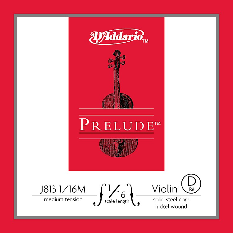 D'AddarioJ813 Prelude 1/16 Violin Single D String Nickel WoundMedium