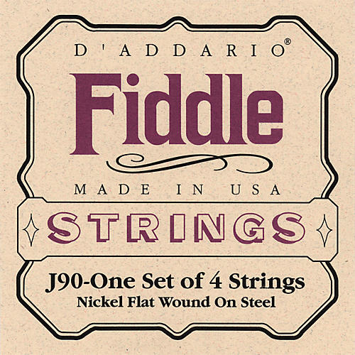 D'Addario J90 Fiddle 4/4 Size Chrome/Steel String Set