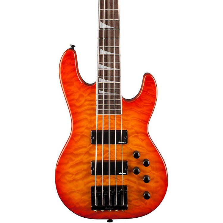 Jackson JS3V Concert 5-String Bass with Quilted Maple Top Transparent Amber