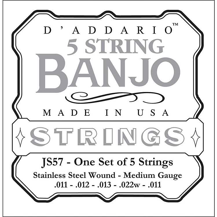 D'Addario JS57 Stainless Steel Medium Banjo Strings