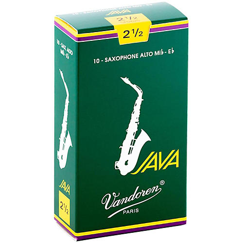 Vandoren Java Alto Saxophone Reeds Strength - 2.5, Box of 10