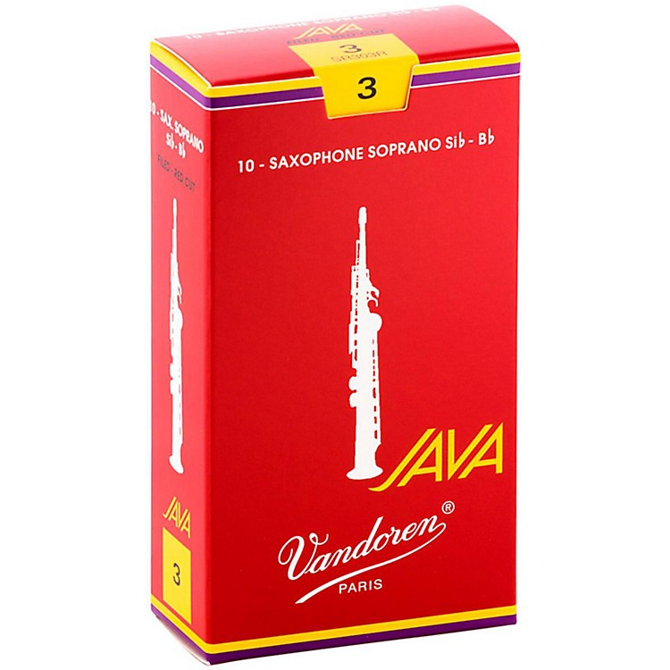 VandorenJava Red Soprano Saxophone ReedsStrength 3, Box of 10
