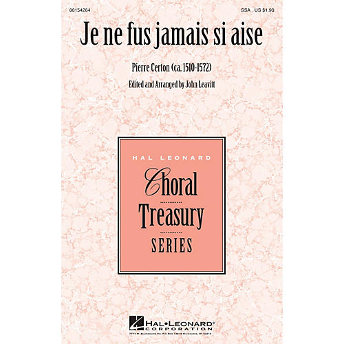 Hal Leonard Je ne fus jamais si aise SSA arranged by John Leavitt-thumbnail