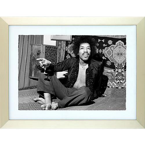 Mirrorpix Jimi Hendrix Black and White Framed Print-thumbnail