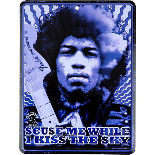 Fender Jimi Hendrix Kiss the Sky Tin Sign