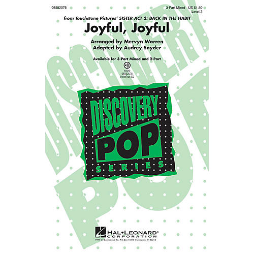 Hal Leonard Joyful, Joyful (from Sister Act 2: Back in the Habit) 3-Part Mixed arranged by Audrey Snyder