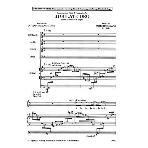 Boosey and Hawkes Jubilate Deo SATB, Organ composed by James MacMillan