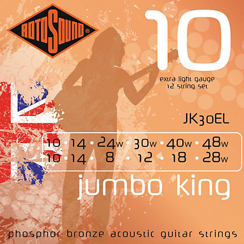 Rotosound Jumbo King 12-String Acoustic Guitar Strings-thumbnail