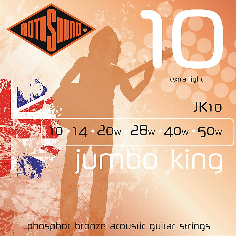 Rotosound Jumbo King Extra Light Phosphor Bronze Acoustic Guitar Strings