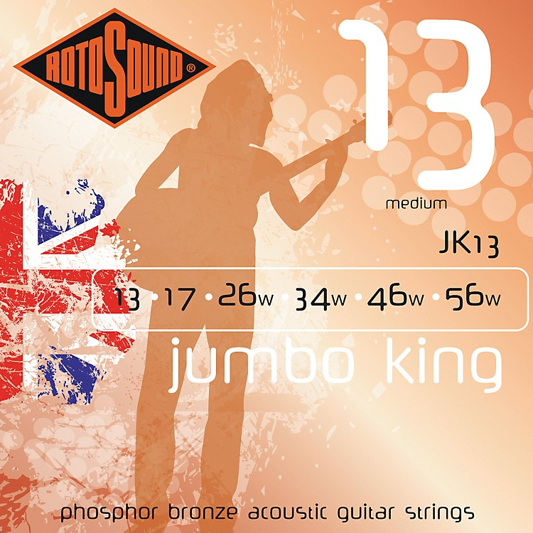 Rotosound Jumbo King Medium Phosphor Bronze Acoustic Guitar Strings