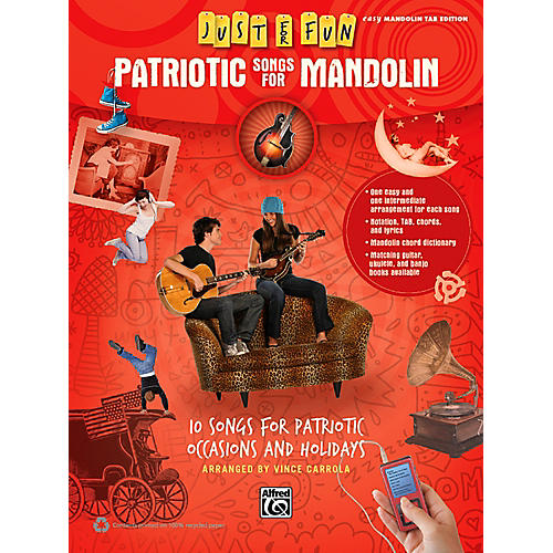 Alfred Just for Fun Patriotic Songs for Mandolin Easy TAB Book