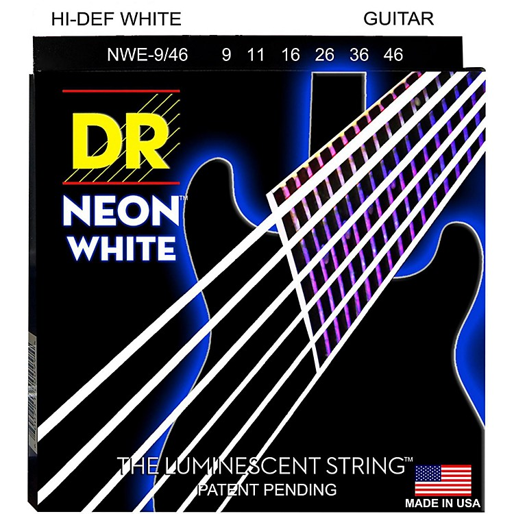 DR Strings K3 NEON Hi-Def White Electric Lite-Heavy Guitar Strings