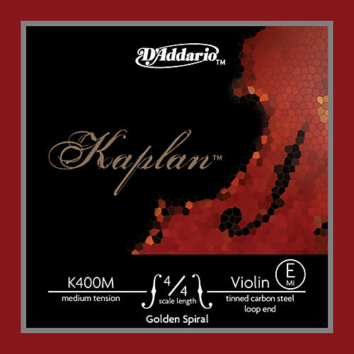 D'Addario K400 Kaplan Golden Spiral 4/4 Size Violin E String with Loop End