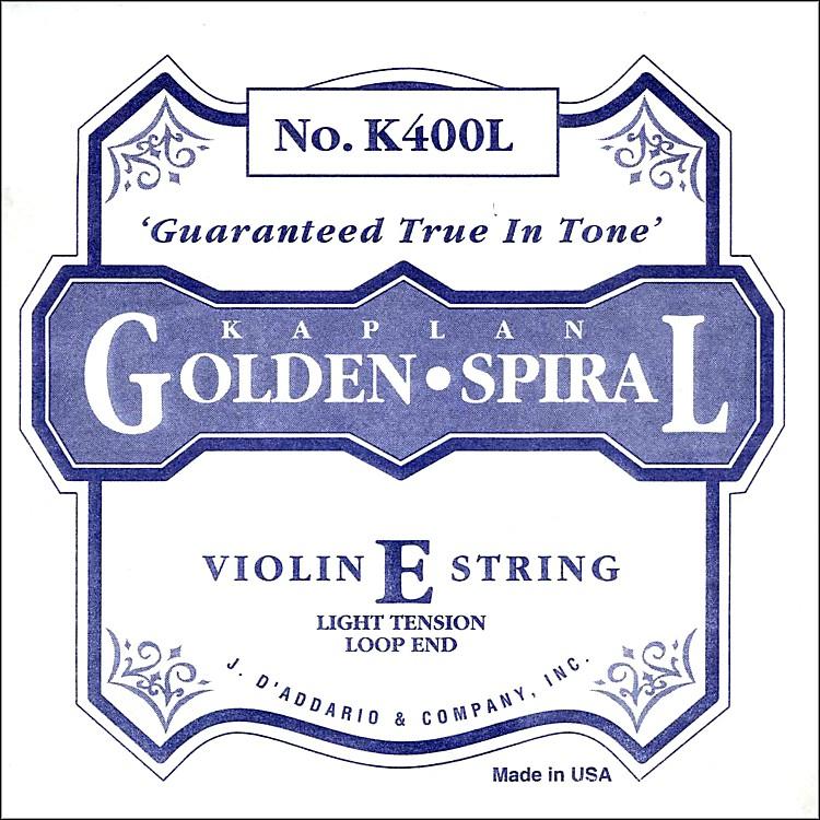 D'AddarioK400H Kaplan Golden Spiral 4/4 Size Light Violin E String with Loop End