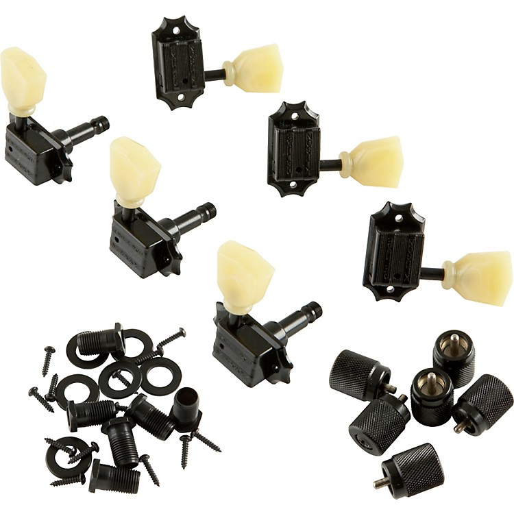 Kluson KB3L Keystone Locking Guitar Tuning Machines - 3-Per-Side Bolt Bushing Black