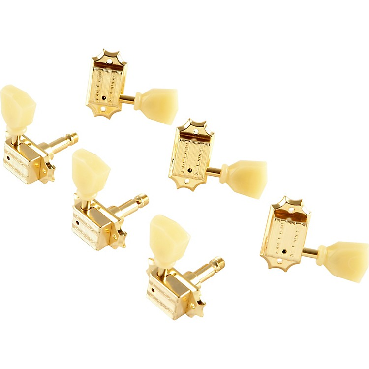KlusonKB3L Keystone Locking Guitar Tuning Machines - 3-Per-Side Bolt BushingGold