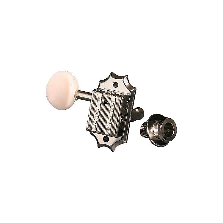 KlusonKBW Round White Button Guitar Tuning Machines - 3-Per-SideGold
