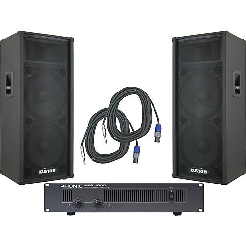 Kustom PA KPC215H / Phonic MAX 1600 Spr & Amp Package-thumbnail