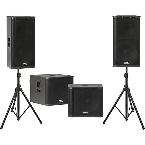 QSC KW152 /  KW181 Powered Speaker Dual Sub Package