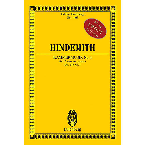 Eulenburg Kammermusik No. 1 Op. 24 No. 1 (Chamber Music No. 1) Study Score Series Softcover by Paul Hindemith-thumbnail