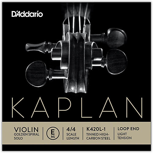 D'Addario Kaplan Golden Spiral Solo Series Violin E String 4/4 Size Solid Steel Light Loop End
