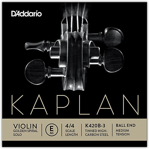 D'Addario Kaplan Golden Spiral Solo Series Violin E String 4/4 Size Solid Steel Medium Ball End