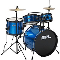 Kicker Pro - 5 Piece Drum Set with Stands, Cymbals, and Throne Metallic Liquid Blue