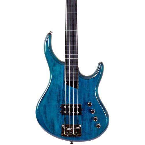 MTD Kingston Artist Fretless Bass Guitar Trans Blue Ebonol