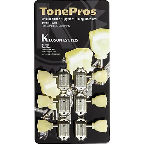 TonePros Kluson Tuners, 3 On A Rail, Round Button
