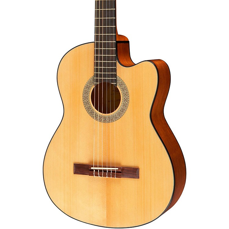 Lucero LC100CE Acoustic-Electric Cutaway Classical Guitar Natural