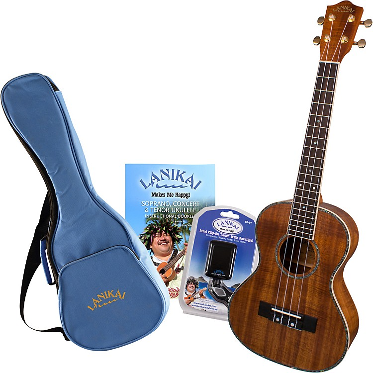 Lanikai LKP-T Koa Tenor Ukulele Pack Satin Natural