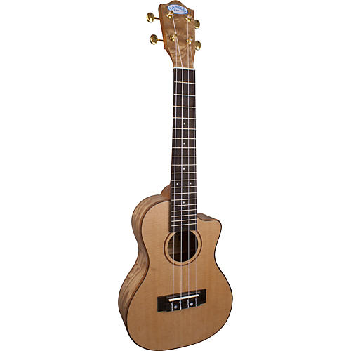 Lanikai LQA-CCA Quilt Ash Concert Cutaway Acoustic-Electric Ukulele w/Fishman Preamp Satin Natural
