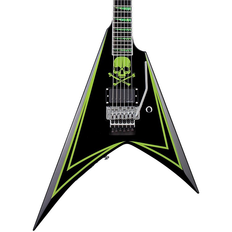 ESP LTD ALEXI 600 Greeny Alexi Laiho Signature Electric Guitar Black W/ Lime Green Pinstripe & Skull Graphic