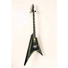 ESP LTD ALEXI 600 Greeny Alexi Laiho Signature Electric Guitar Level 2 Black with Lime Green Pinstripe and Skull Graphic 888365936048