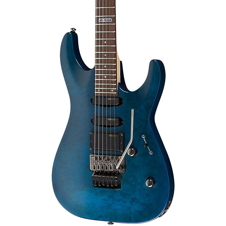 ESP LTD MH-103 Quilted Maple Electric Guitar See Thru Blue Rosewood Fingerboard