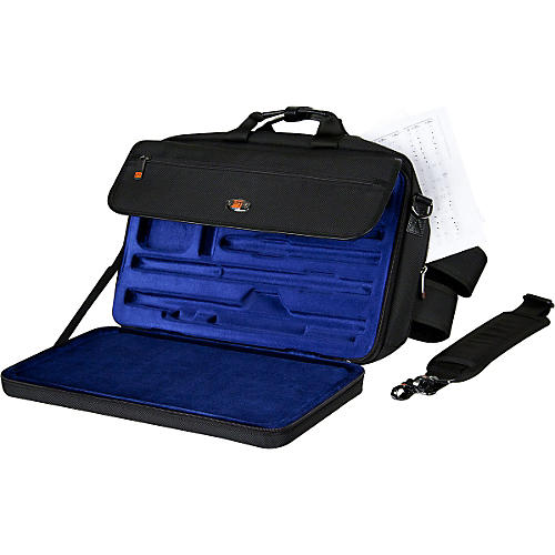 Protec LUX Flute and Piccolo Case with Sheet Music Messenger Bag Black