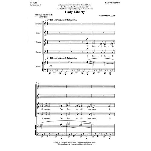 Edward B. Marks Music Company Lady Liberty (SATB and Piano) Composed by William Bolcom-thumbnail