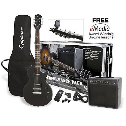 Epiphone Les Paul Electric Guitar Performance Pack Ebony