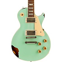 Les Paul Standard Limited Run - Solid Body Electric Guitar Faded Surf Green over 2-Color Sunburst Aged White Pearl Pickguard