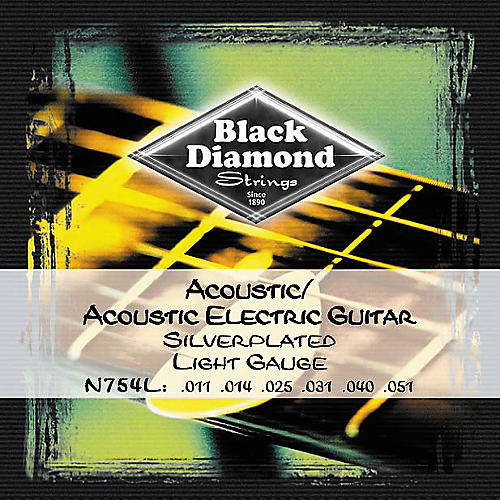 Black Diamond Light Gauge Silver-Plated Acoustic-Electric Guitar Strings-thumbnail