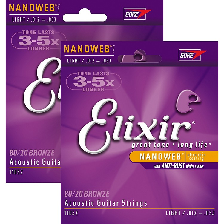 Elixir Light Nanoweb Acoustic Guitar Strings 2-Pack