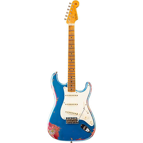 Fender Custom Shop Limited Edition 1957 Heavy Relic Stratocaster Electric Guitar, Maple Lake Placid Blue over Pink Paisley